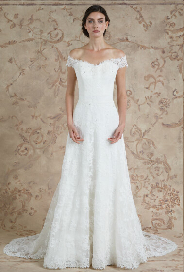 Off-the-shoulder A-line Lace Wedding Dress