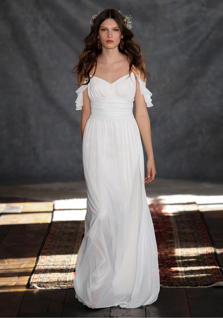 Spaghetti Straps Ruched Waist Long Empire A-line Chiffon Wedding Dress
