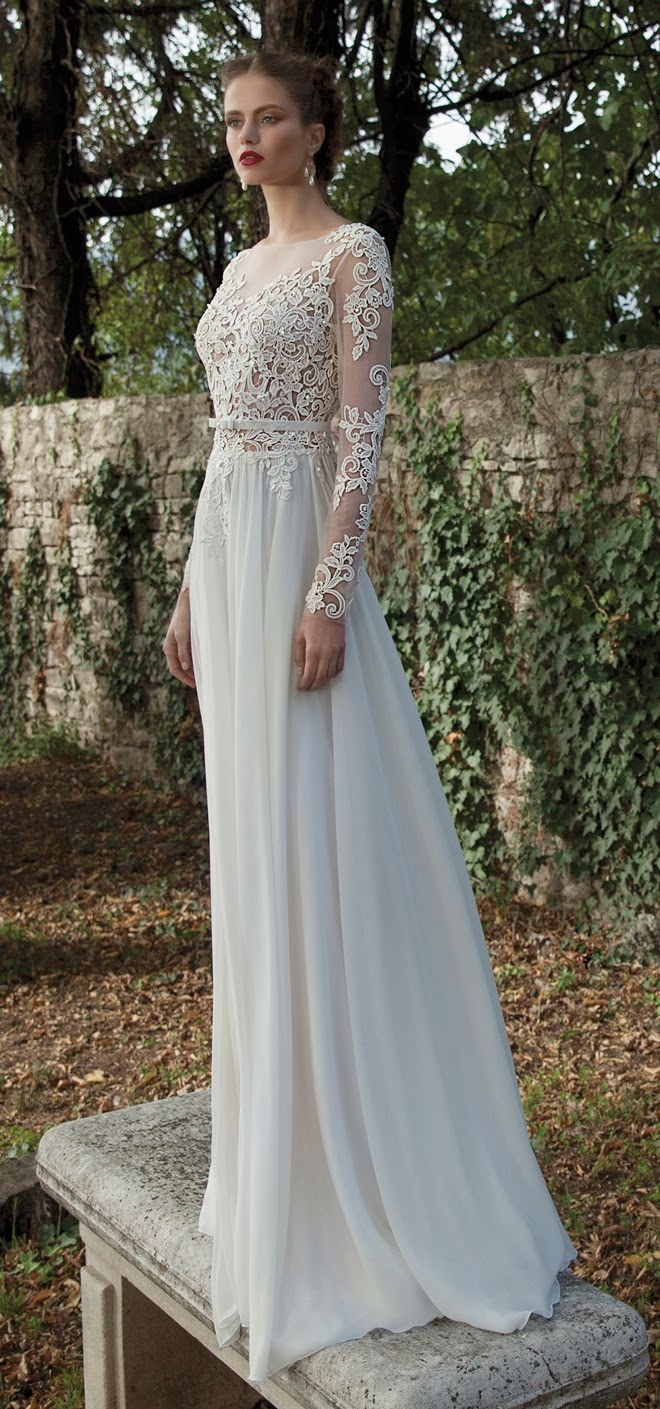 Long Sleeves See Through Lace Bodice Column Backless Chiffon Wedding Dress,Wedding Dresses Nordstrom Sale