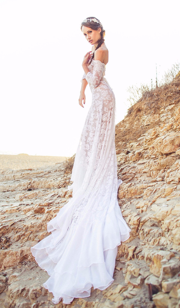 Exquisite off-the-shoulder Long Lace Wedding Dress with 3/4 Sleeves