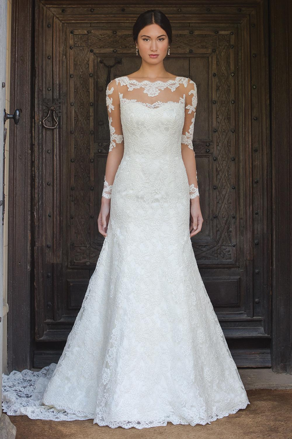 Fit Flared Lace Wedding Dress with Long Sleeves