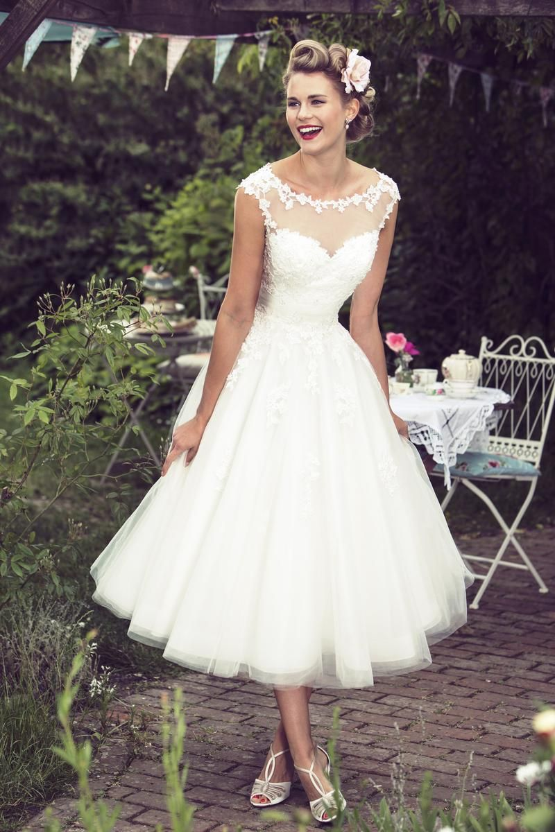 wedding dresses c 68 wedding dresses under 50 Tea Length Illusion Neck Lace Bodice A line Tulle Wedding Dress