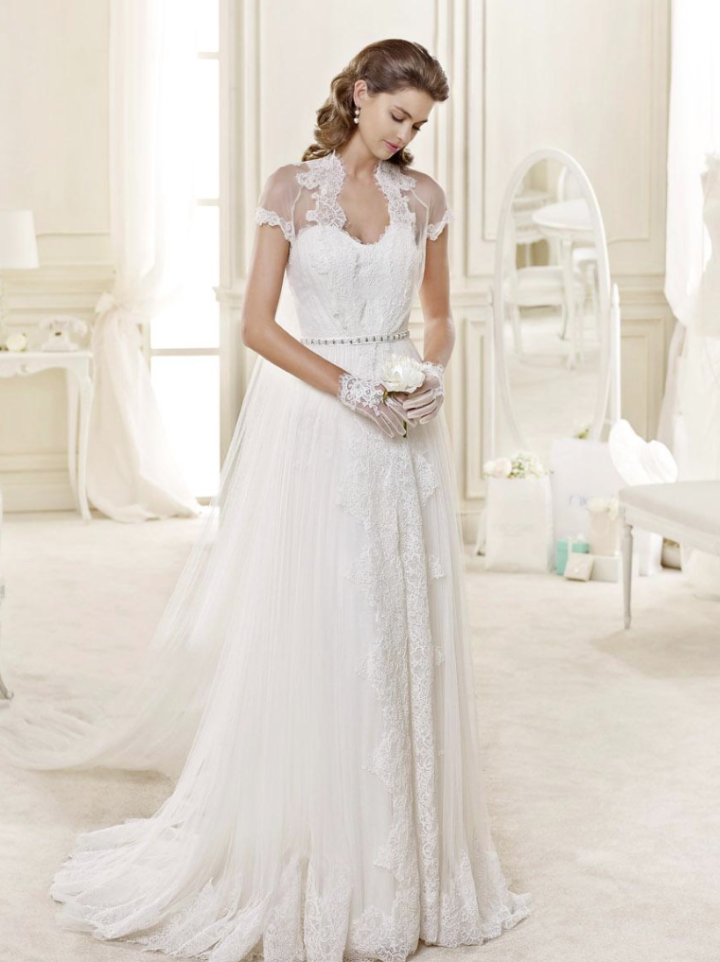Slim Sheath Lace Detailling Front Slit Tulle Wedding Dress