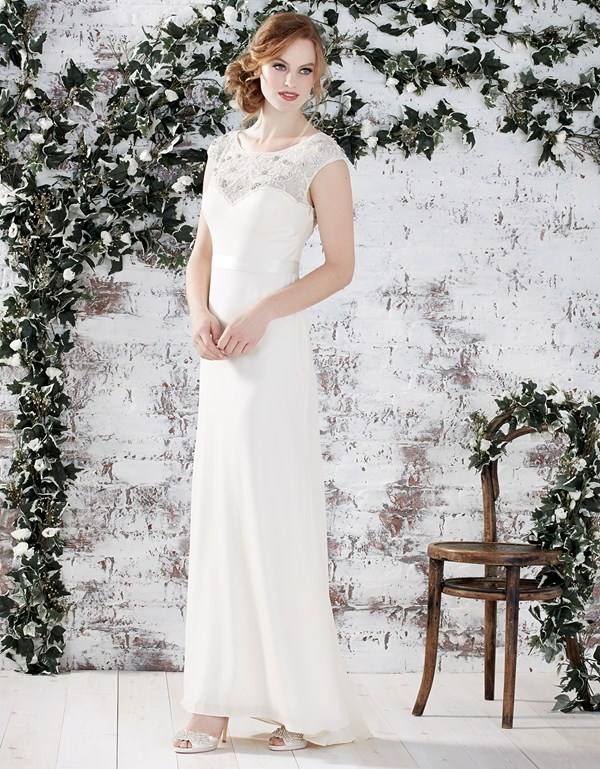Illusion Neck Cap Sleeved Long Sheath Chiffon Wedding Dress with Lace