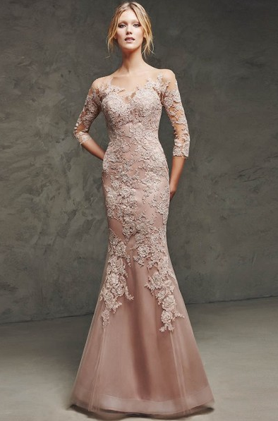 Trumpet/Mermaid Scoop Neck 3/4 Length Sleeve Floor-length Long Tulle Wedding Guest Dresses with Lace Appliques