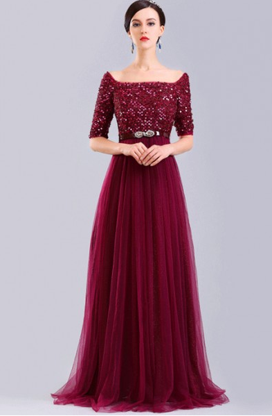 Floor-length A-line Square Neck Half Sleeve Sequins Long Tulle Wedding Guest Dresses with Crystal Belt