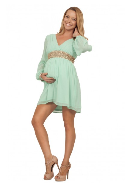 Sheath/Column Empire Waist V-neck Long Sleeves Ruched Short Chiffon Maternity Dresses with Sequins Sash