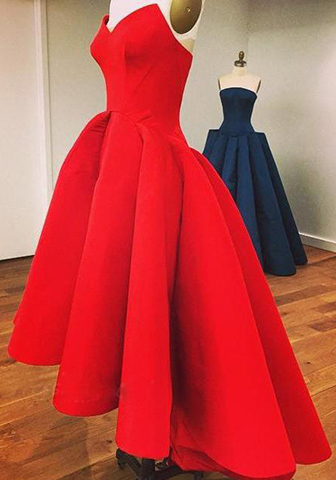 A Line Strapless Pleated High Low Satin Wedding Guest Dresses