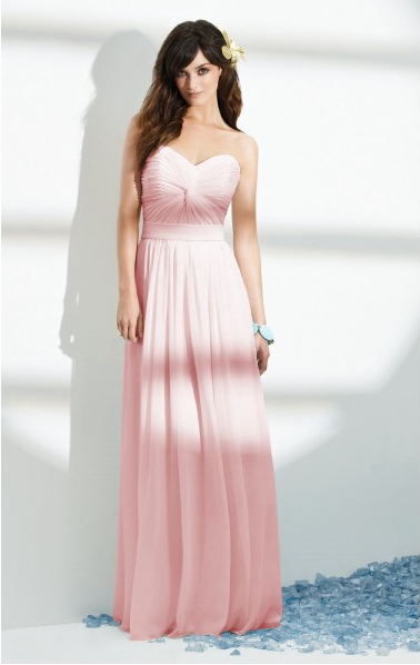 A-line Strapless Pleated Floor-length Long Chiffon Wedding Guest Dresses