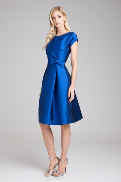 A-line Bateau Cap Sleeve Bow(s) Knee-length Short Satin Wedding Guests Dresses