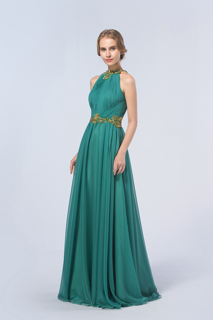 A-line Jewel Sleeveless Crystal Detailing Floor-length Long Chiffon Evening Dresses