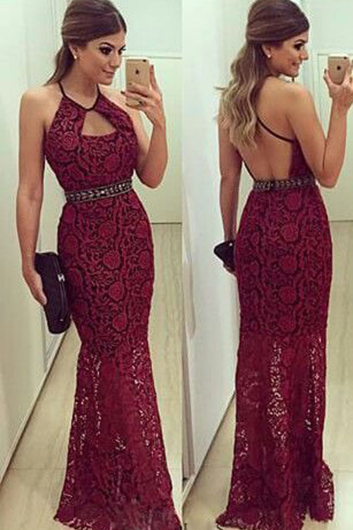 Modern Halter Neck Beading Mermaid Long Burgundy Lace Evening Dress