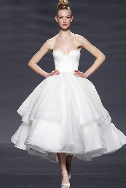 Tea Length Short Ball Gown Tiered Organza Wedding Dress