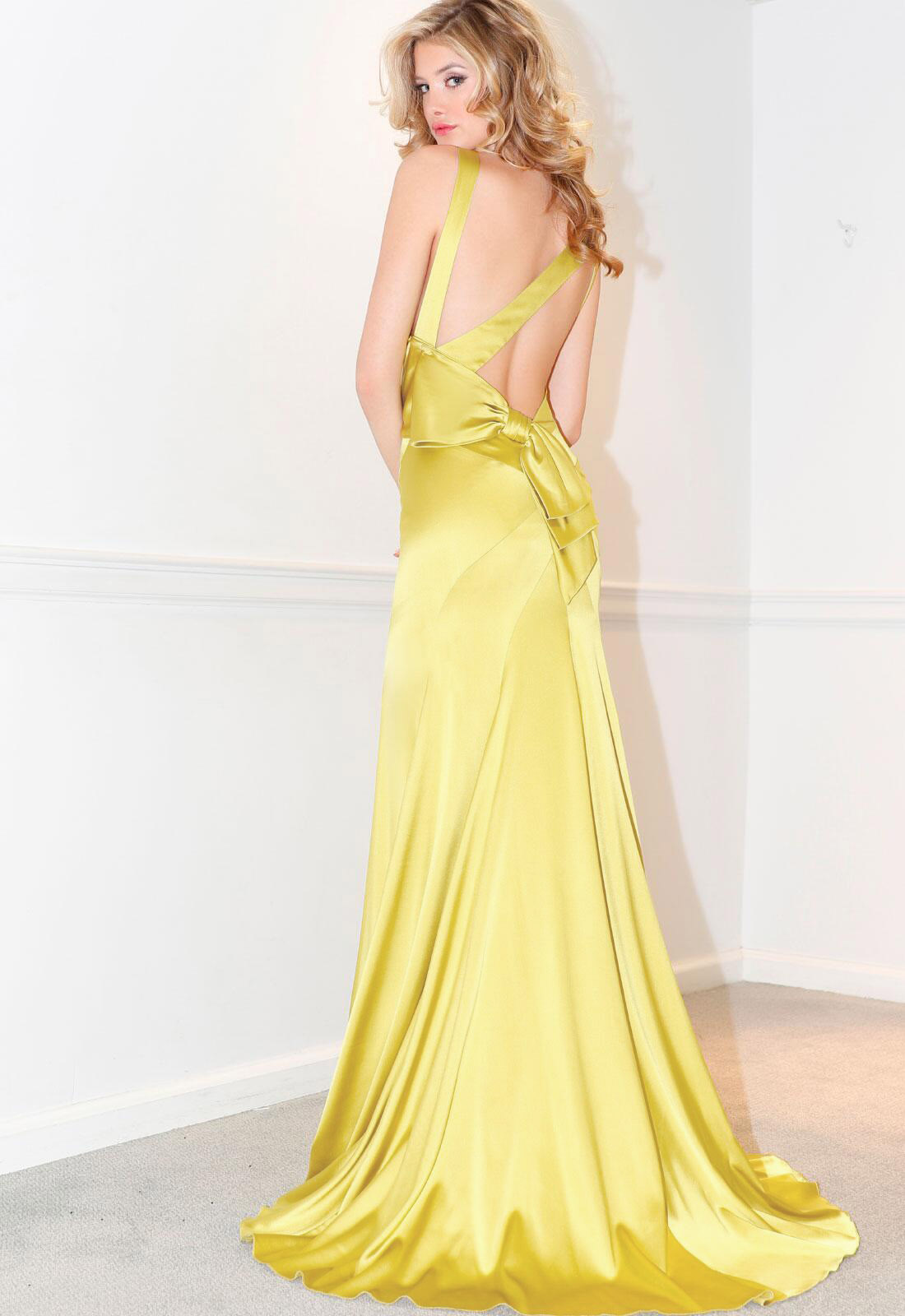 SEXY V NECK BACKLESS LONG STRETCH SATIN EVENING DRESS