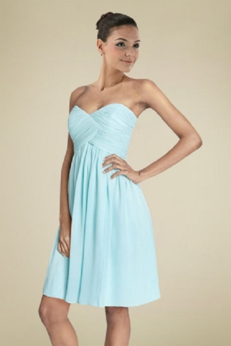 Light Blue Strapless Pleated Chiffon Knee Length Bridesmaid Dress