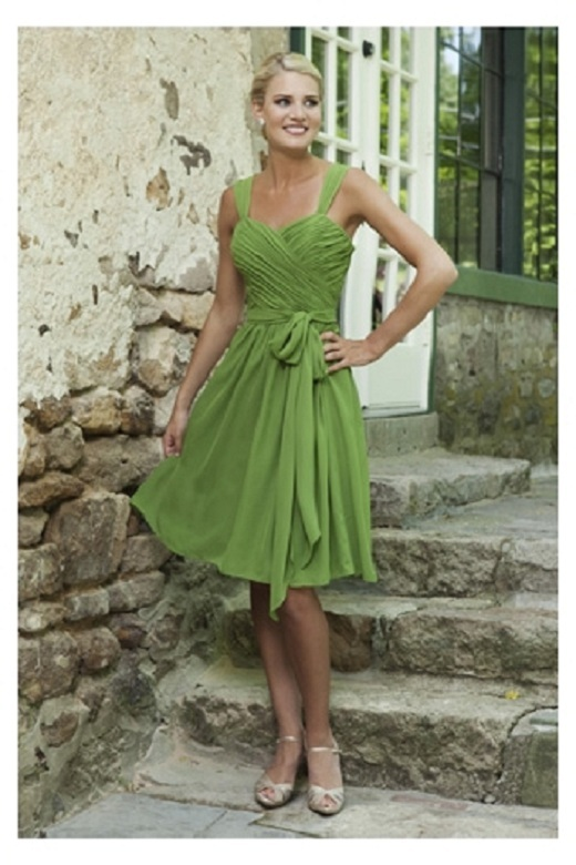 Tank Straps Knee Length A-line Pleated Chiffon Bridesmaid Dress