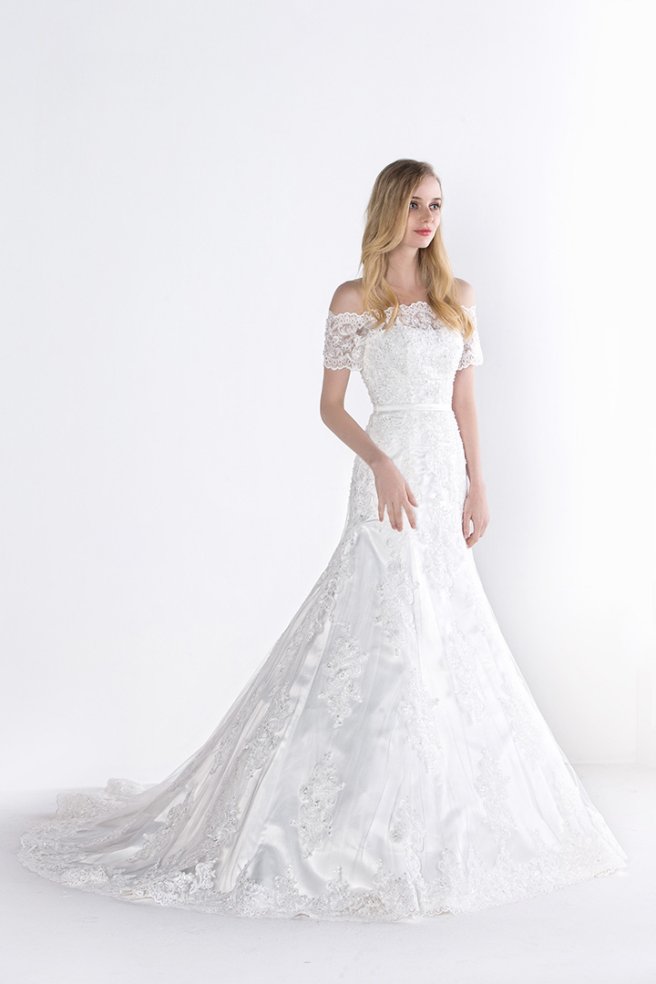 Elegant Off the Shoulder Short Sleeve A-line Lace Wedding Dress with Ribbon