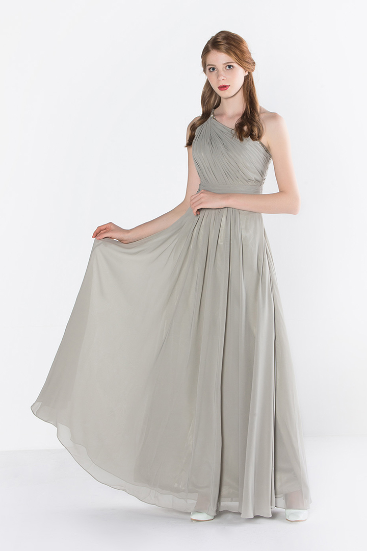 Silver Sparkly One Shoulder Pleated Long Chiffon Bridesmaid Dress