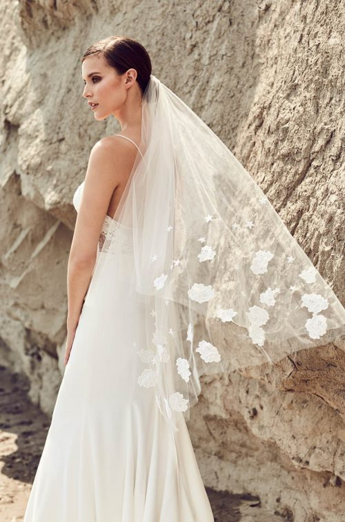 Flower Lace Decor Brides Wedding Veil Ivory