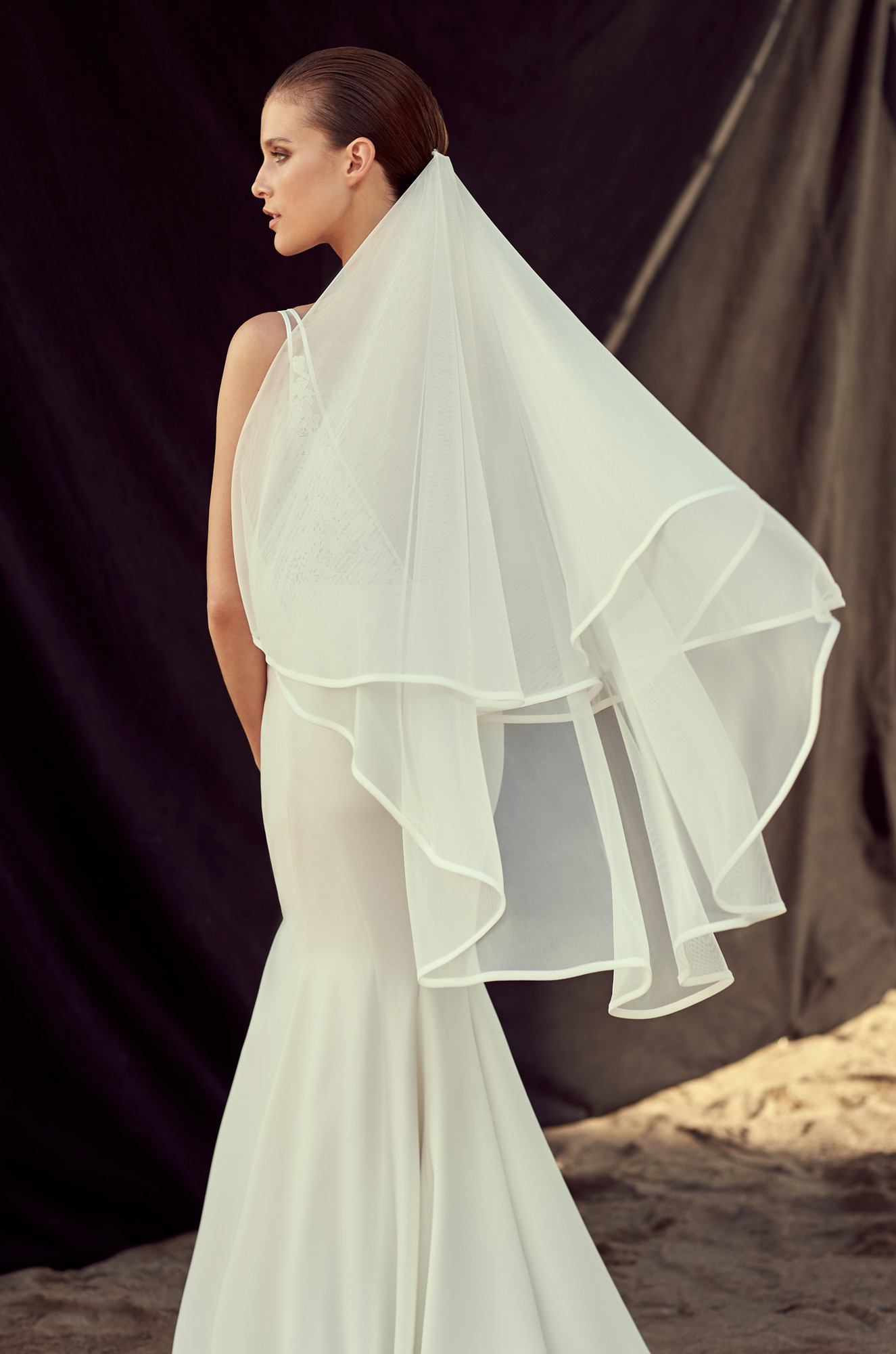 Two Layer Ribbon Hemline Ivory Tulle Brides Wedding Veil