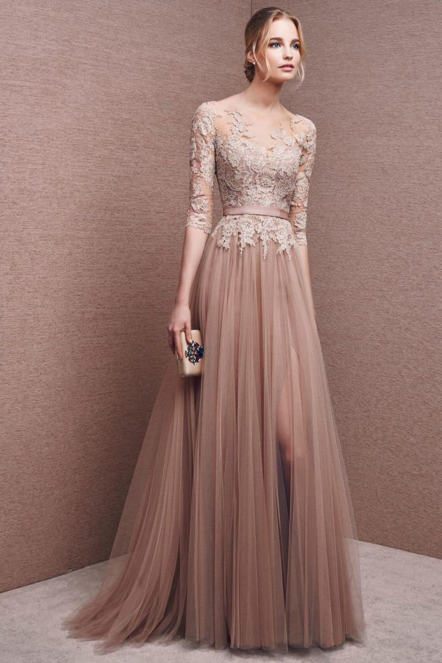 3/4 Sleeves A-line Illusion Neck Tulle Formal Evening Dress