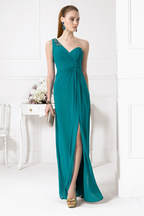 Chic One Shoudler Sleeveless Crystal Detailling Split Long Emerald Green Bridesmaid Dress