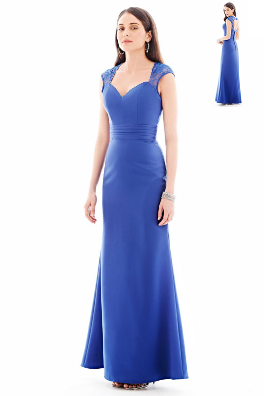 Queen Anne Neck Cap Lace Sleeve A-line Satin Chiffon Bridesmaid Dress with Buttons