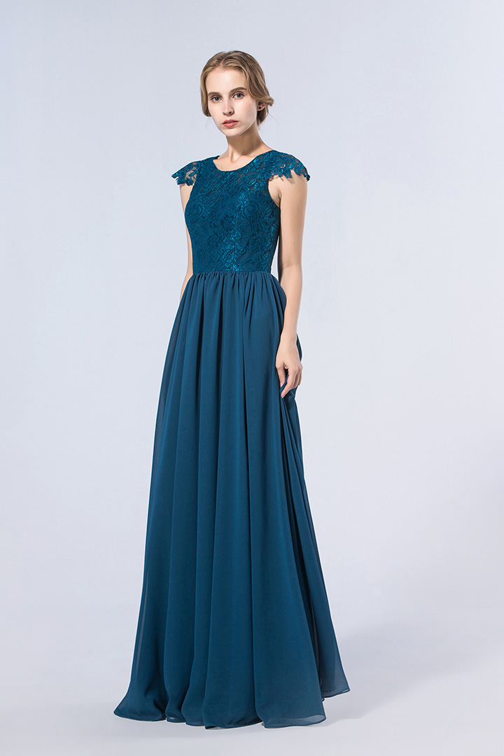 Exquisite Lace Bodice Cap Sleeved Long Chiffon Bridesmaid Dress