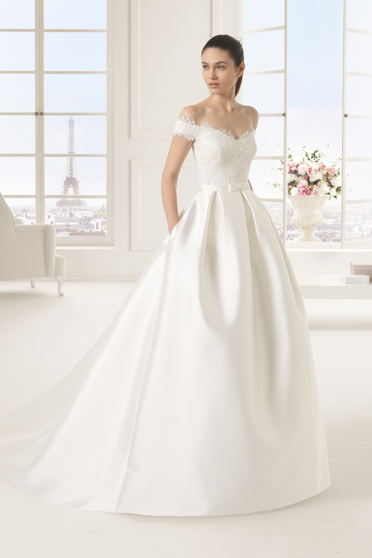 Off The Shoulder Lace Bodice Ball Gown Satin Wedding Dress With Bow