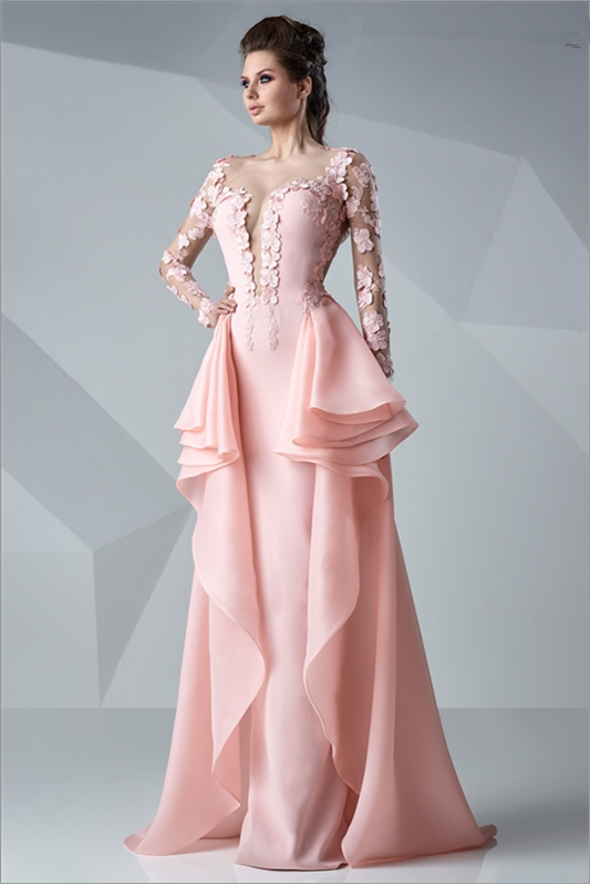 princess bateau long sleeve appliques floor-length organza Evening Dress