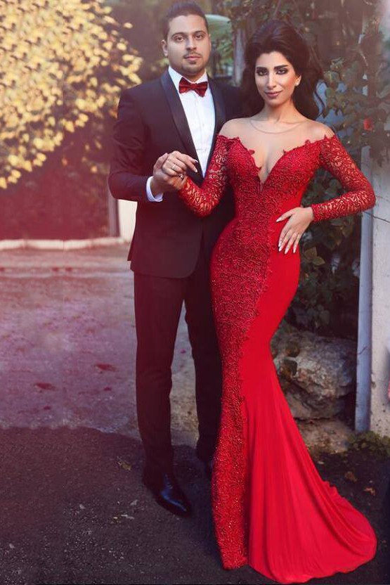 Red Illusion Neck Lace Long Chiffon Mermaid Evening Dress