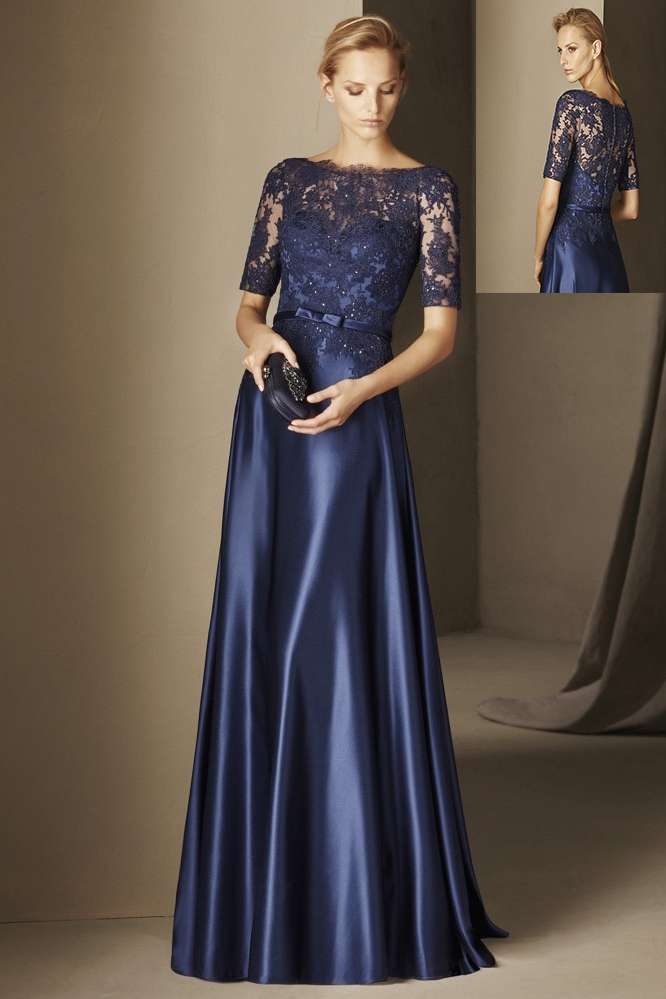 Short Sleeved Lace Appliques Long A-line Navy Satin Evening Dress
