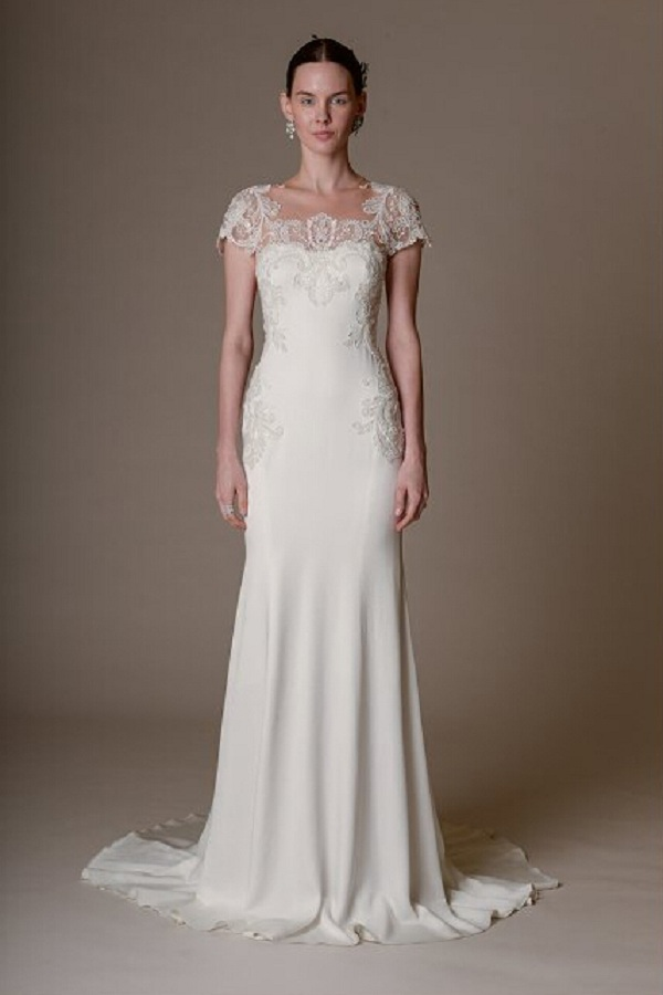 Chic Short Sleeved Floral Lace Trimmed Sheath Chiffon Wedding Dress