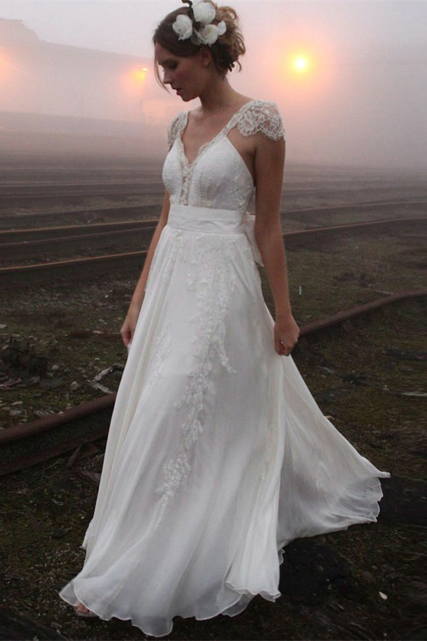 A-line V-neck Cap Sleeve Lace Sashes/Ribbons Boho Long Wedding Dresses