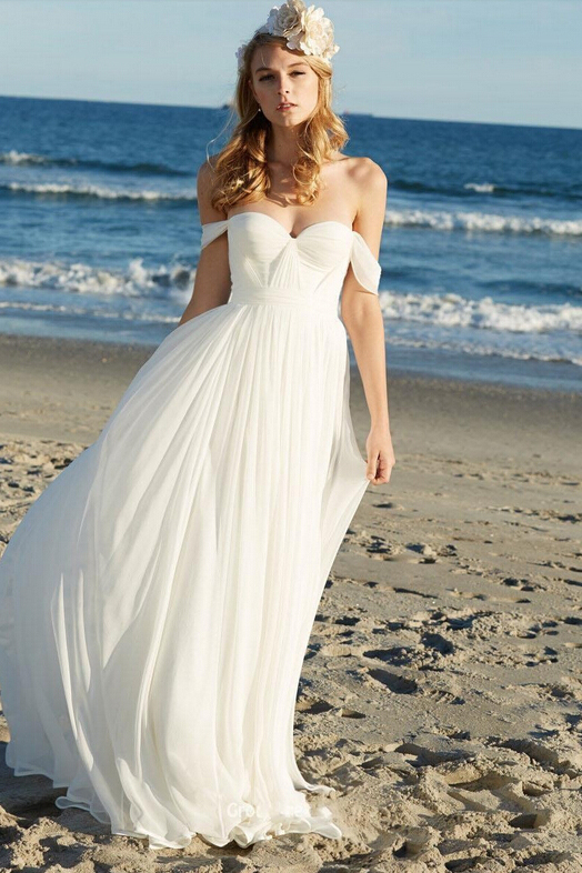 Beautiful off the Shoulder Empire Pleated LOng Chiffon Beach Wedding Dress