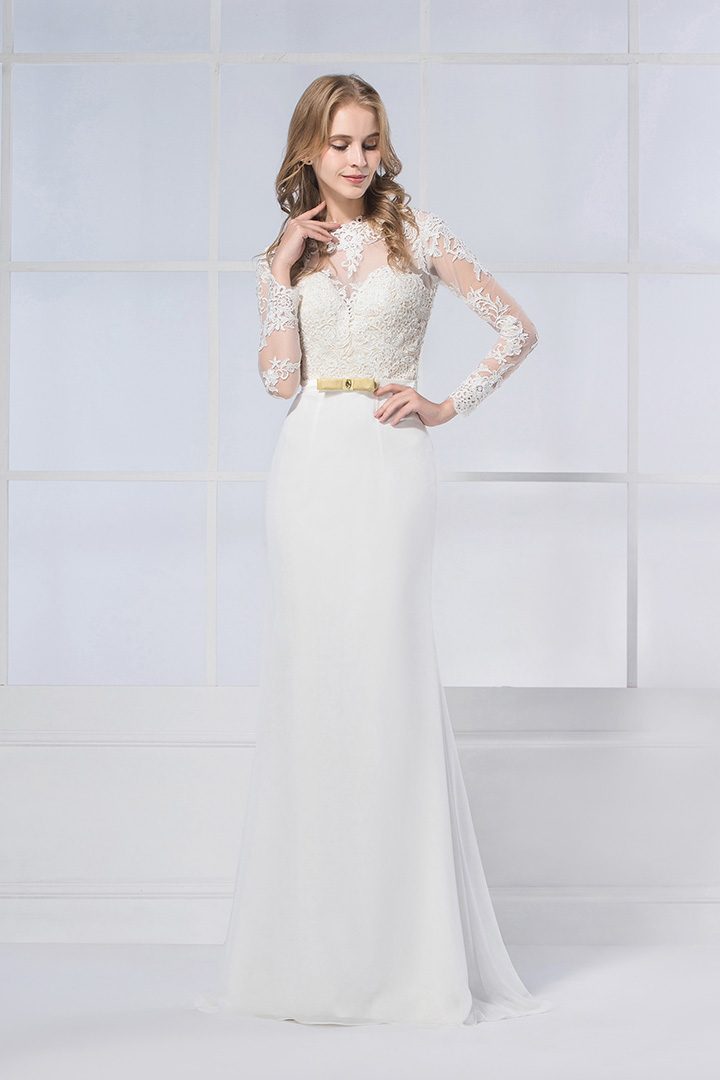 Long Sleeved Jewel Neck Sheath Satin Chiffon Bridal Dress with Lace Appliques
