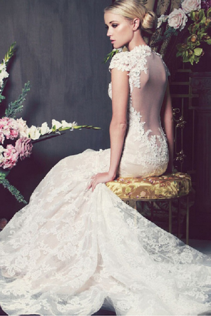 Floral Lace Decorated Queen Anne Neck Lace Embellished Organza Wedding Dress