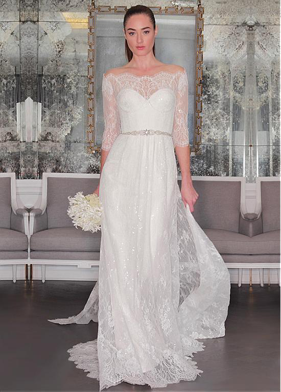Glamour A-line Sequin Lace Off Shouolder Wedding Dress
