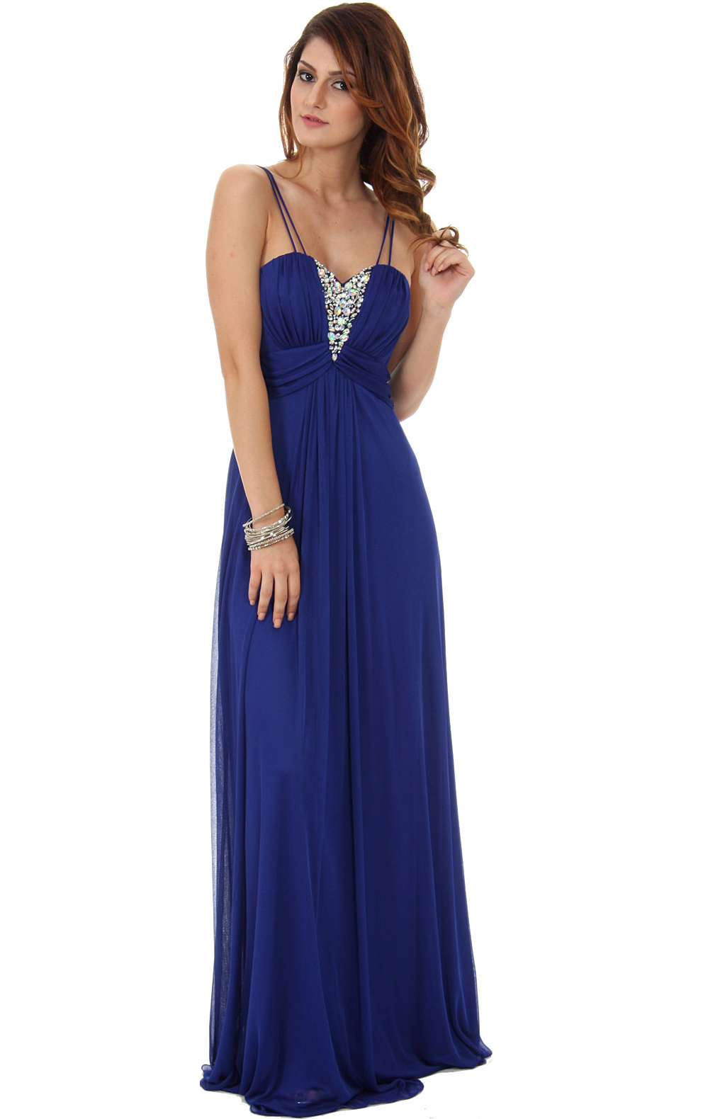 Elegant Spaghetti Straps Long A-line Chiffon Prom Dress with Crystal Embellishement