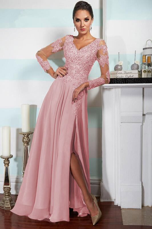HOt Sale Long Sleeved Beaded A-line Split Chiffon Long Prom Dress