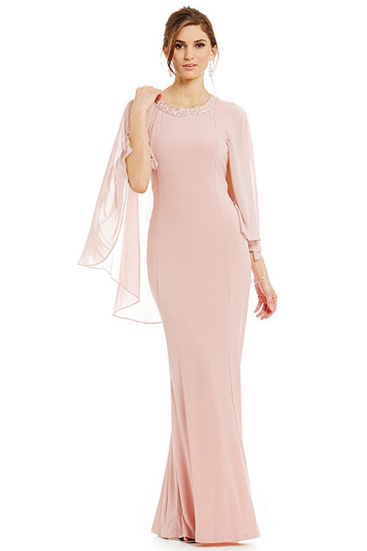 Floor-length Sheath/Column Jewel Neckline Beaded Long Chiffon Mother of the Bride Dress