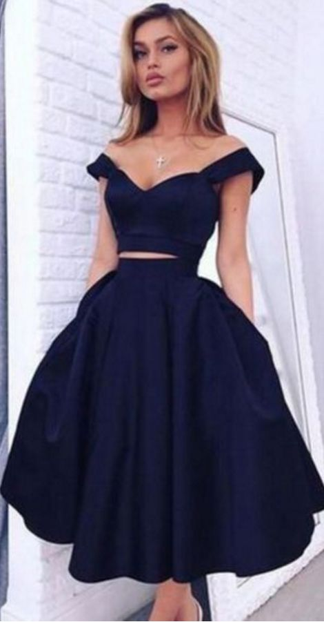 Off the Shoulder Short Elastic Satin Short Prom Dress