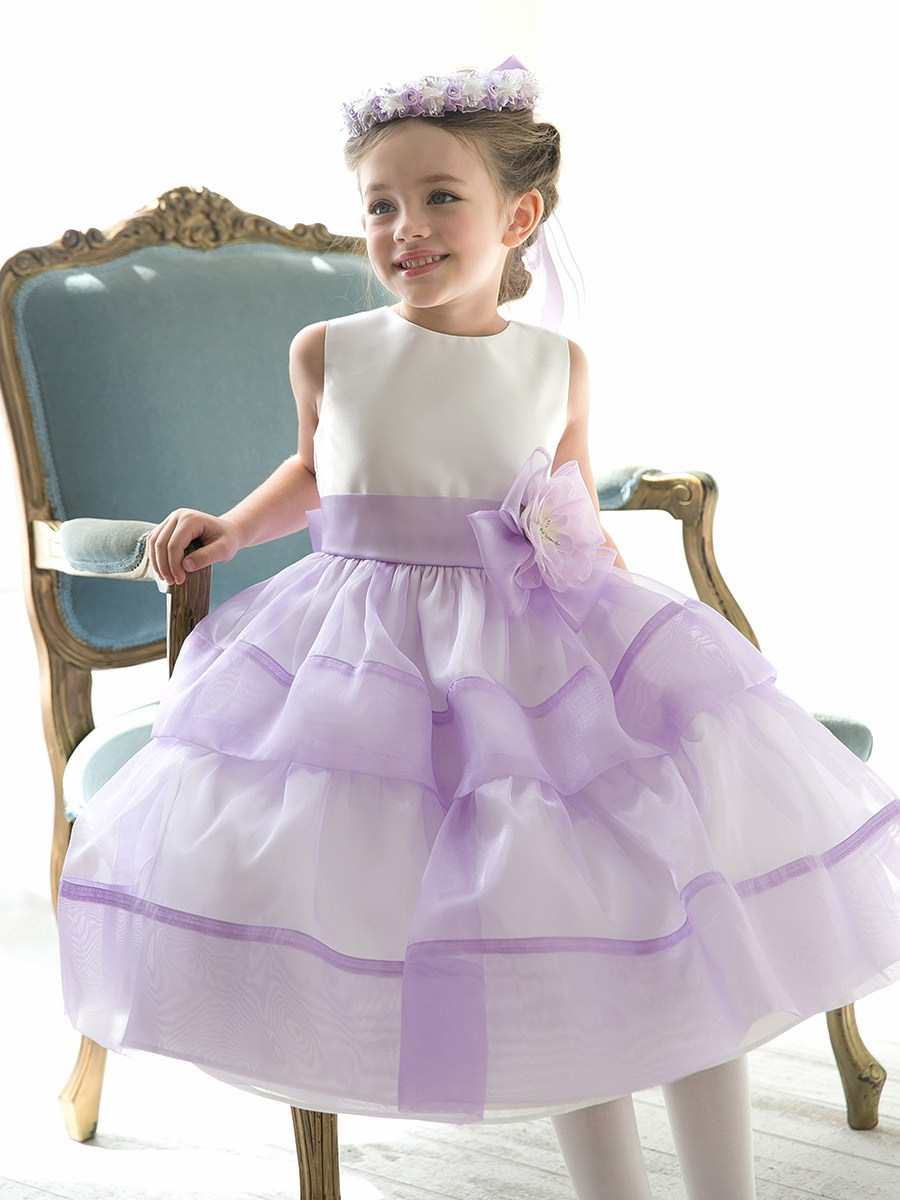 Dreamy Lilac Sleeveless Two-tier Organza&Satin Flowergirl Dresses