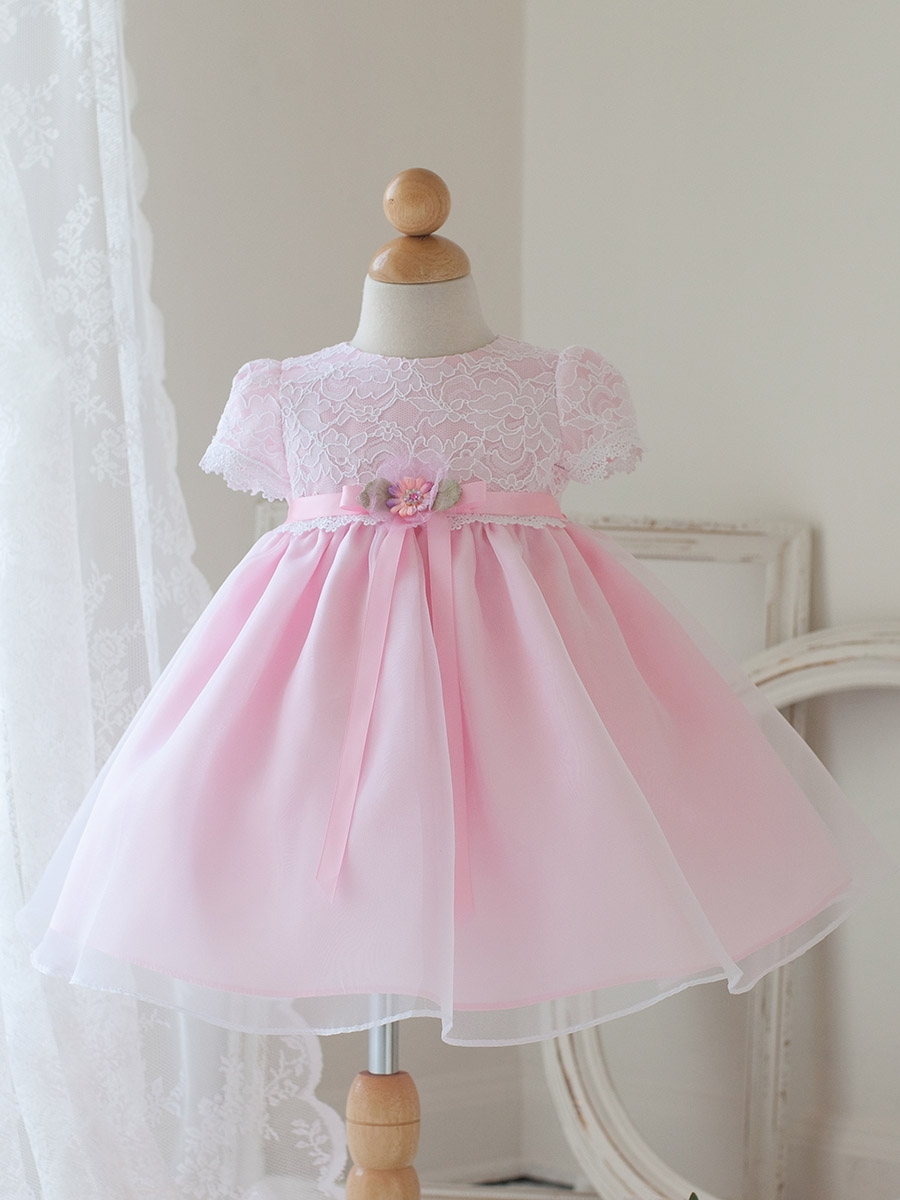 Cute Short sleeves Lace&Organza Baby Dresses with Bowknot Ribbon