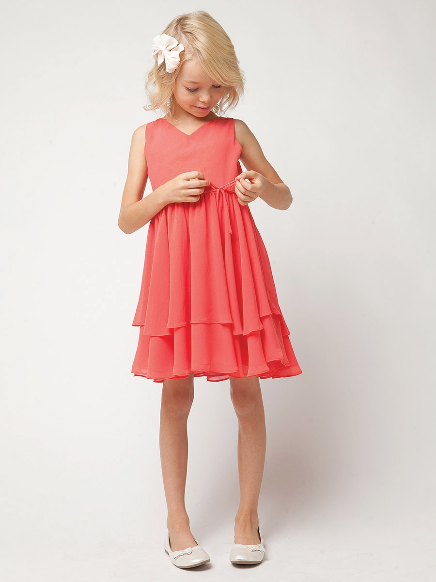 Coral V-neck Two-tier Chiffon Flowergirl Dresses
