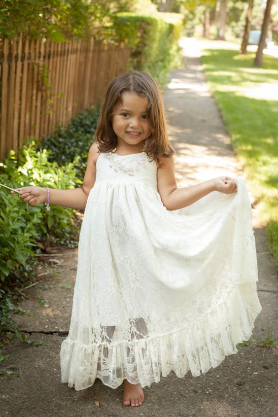 A-line Spaghetti Straps Lace Floor-length Boho Flower Girl Dresses