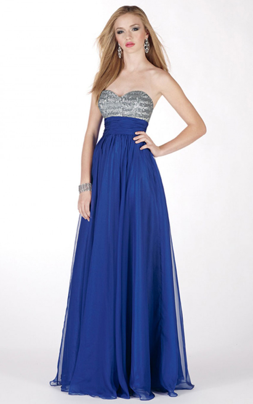Strapless Sweetheart Sequinned Chiffon Empire Prom Dress