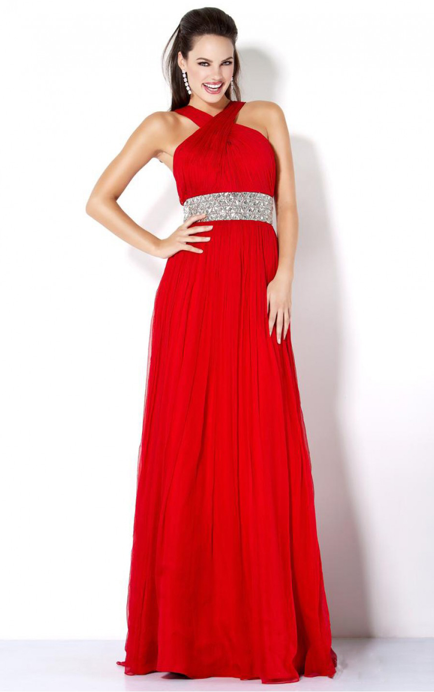 Chiffon Empire A-line Floor-length Halter Red Perom Dress with Crystal Band