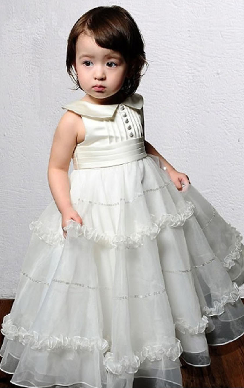 Sleeveless Princess Zipper Floor-length Organza Flower Girl Dresses