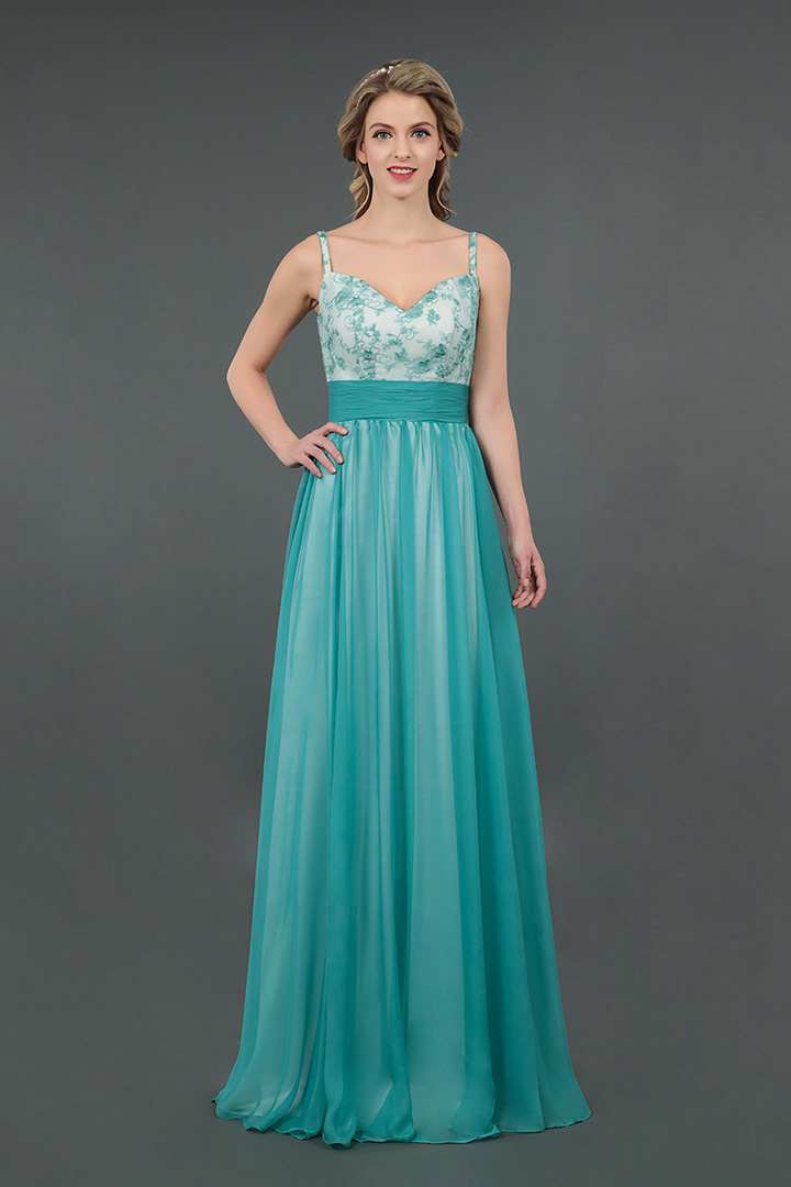A-line Shoulder Straps Lace Floor-length Bridesmaid Dress